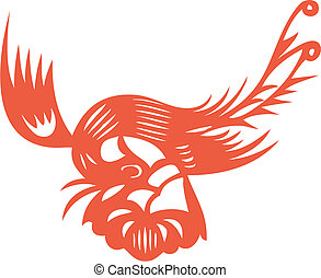 flying phoenix - chinese traditional paper cut