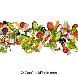 Flying pieces of vegetable isolated on white background