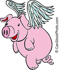 Flying Pig - Pig with wings flying cartoon character...