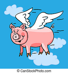 """Fun cartoon of a flying pig with wings to represent the """"when pigs fly"""" saying."""