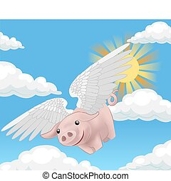 flying pig illustration - a flying pig