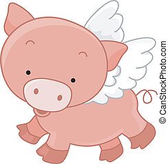 Flying Pig - Illustration of a Winged Pig