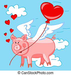 Cute and fun cartoon of a flying pig in love delivering a heart shape balloon to his love on valentine's day.