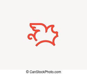 Flying pig line vector logotype. Creative pork grill steak wing logo design