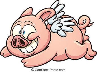 Flying pig - Cartoon winged pig flying. Vector clip art...