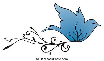 Flying Pigeon - Drawing of a blue flying pigeon with plant...