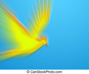 flying pigeon - moving bright yellow pigeon on blue...