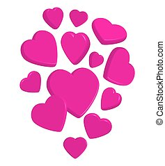 Flying pink 3d hearts