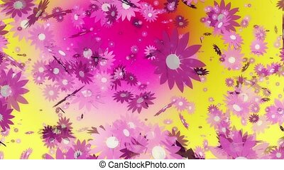 Flying pink flowers on yellow