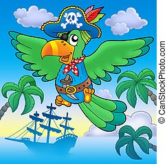 Flying pirate parrot with boat - color illustration.