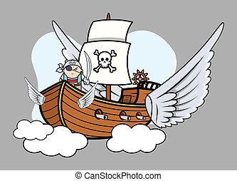Flying Pirate Ship - Vector Cartoon