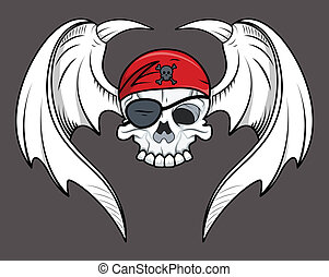 Flying Pirate Skull - Vector