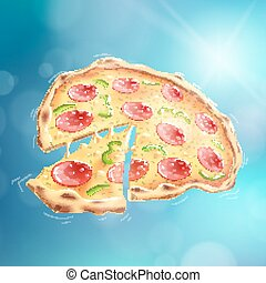 Flying Pizza Blue Bokeh Background EPS10