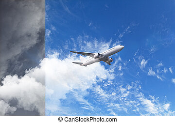 flying plane at blue sky background with grey part