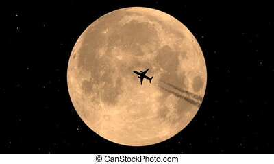 Flying Plane On Background Of The Moon
