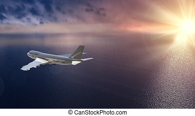Flying plane over the ocean  - Boeing 747 over ocean