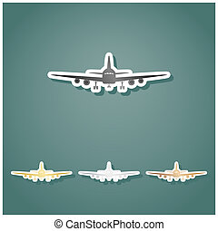 Flying Plane sign. Front view. Set of metallic Icons with gray, gold, silver and bronze gradient with white contour and shadow at viridan background. Illustration.