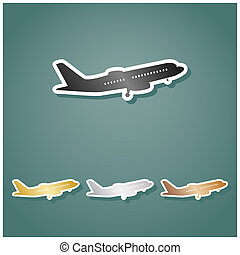 Flying Plane sign. Side view. Set of metallic Icons with gray, gold, silver and bronze gradient with white contour and shadow at viridan background. Illustration.