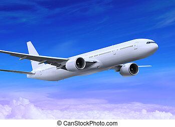 flying plane - white passenger plane is landing away in the...