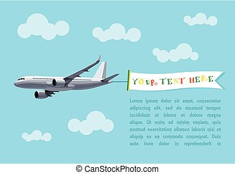 Flying Plane with Banner for Your Text, Advertising, Header. Flat Vector Design. Template Concept for a text web banners or Printable Cards, Postcards