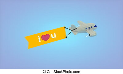 """""""Flying plane with flag, I love you."""""""