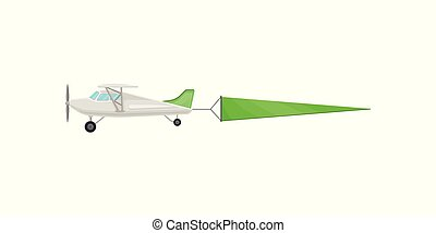 Flying plane with green horizontal advertising banner vector Illustration on a white background
