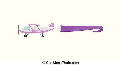 Flying plane with purple horizontal advertising banner vector Illustration on a white background