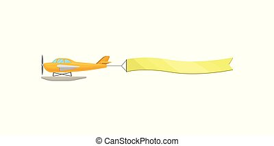 Flying plane with yellow horizontal advertising banner vector Illustration on a white background