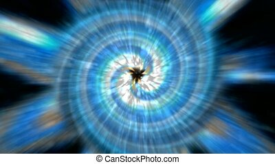 flying planets from blackhole tunnel and rays laser light in universe, power energy airflow galaxy, Tai Chi, science fiction.