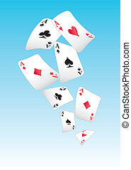 flying playing cards - aces in the sky