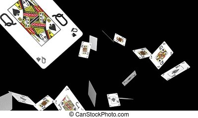 Flying playing cards animation - Poker cards are pouring...