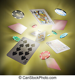 Flying poker cards and Casino chips