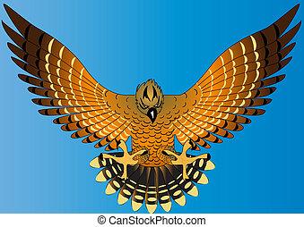 flying powerful eagle on turn blue background