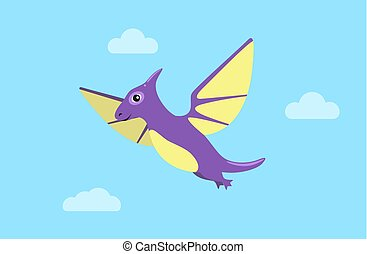 Flying Pteranodon and Clouds Vector Illustration