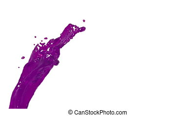 flying purple liquid flow in slow motion. syrup - close-up...