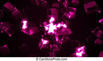 Flying purple rectangular cubes