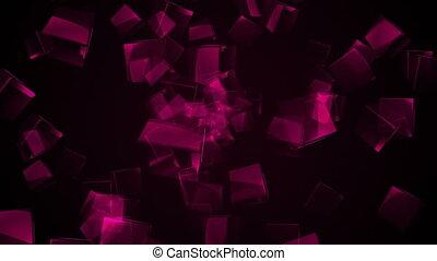 Flying purple rectangular cubes. Seamless loop