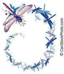 Flying Purple Watercolor Dragonflies vertical background