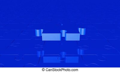 Flying puzzle piece in blue color