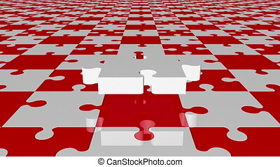 Flying puzzle piece in white on red