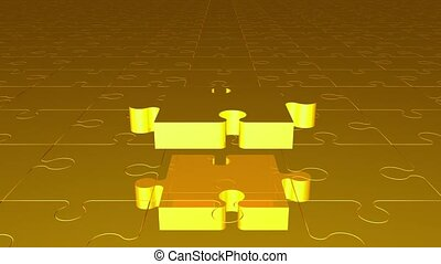Flying puzzle piece in yellow color
