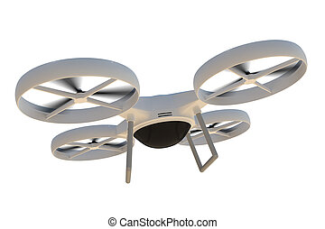 Flying quad copter (drone) isolated on white background