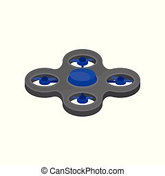 Flying quadcopter with four blue rotor blades. Remote controlled drone. Modern technology. Flat vector design