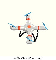 Flying quadrocopter. Cartoon icon of drone with four rotor blades. Unmanned aerial vehicle. Flat vector element for promo banner or poster