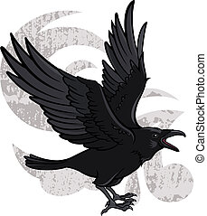 Flying Raven - Vector illustration of a flying black raven