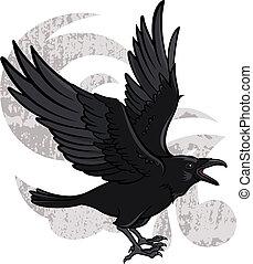 Flying Raven - Vector illustration of a flying black raven