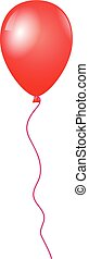 Flying red balloon isolated on white background, Vector illustration
