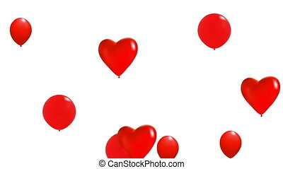 Flying red balloons. Isolated on white. Full HD