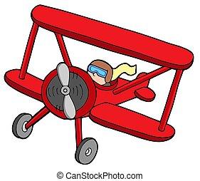 Flying red biplane - isolated illustration.