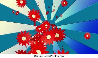 Flying red flowers on sunburst